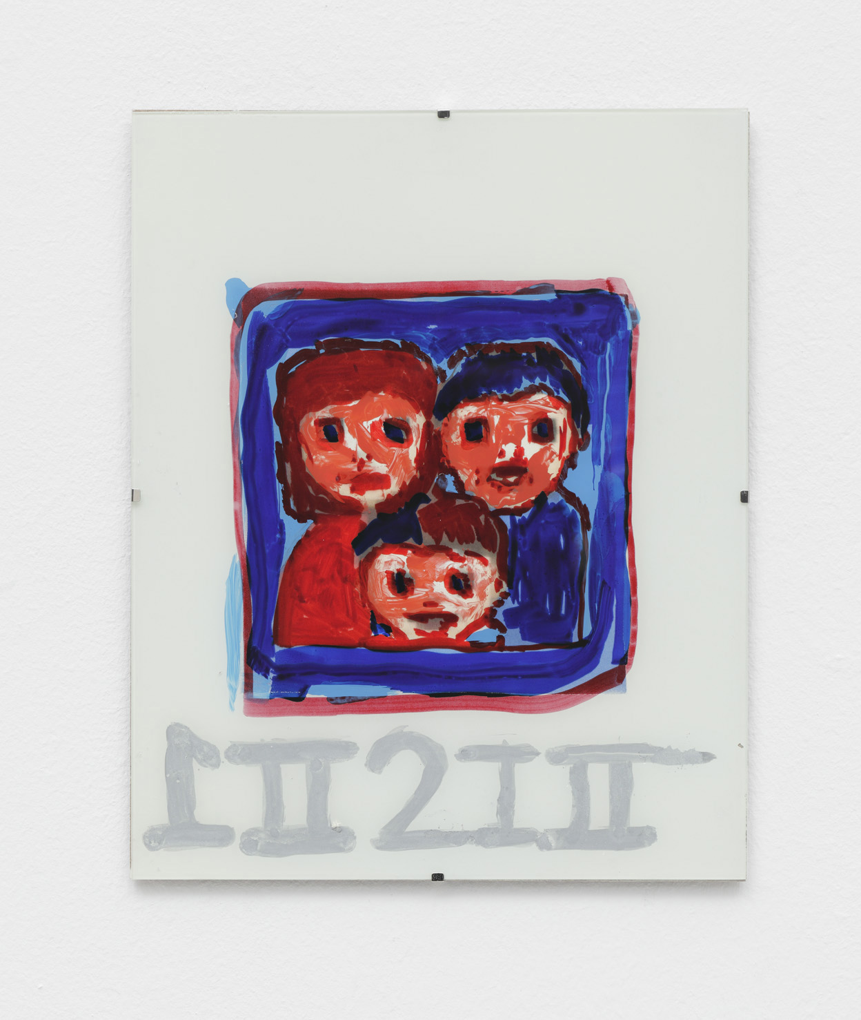 Famely portrait, 2015.  Paint on glass. Dim. 24 x 18 cm